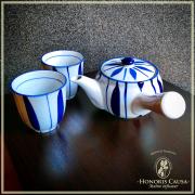 Service à thé Sapporo bleu et blanc