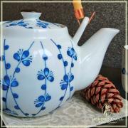 """Théière """"Blue plum"""" céramique peinte"""
