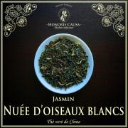 Nuées d'oiseaux blancs, thé vert jasmin